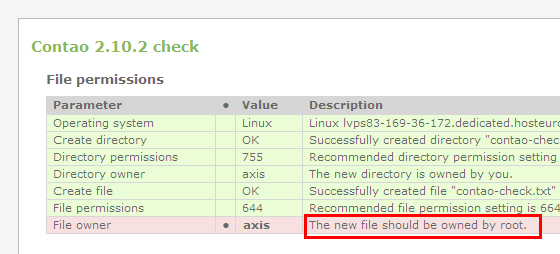 Contao file permission root