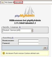 phpMyAdmin Loginbildschirm